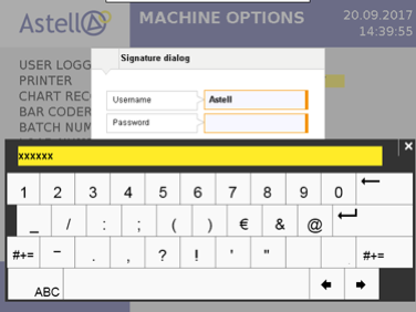 Astell Touchscreen Signature Dialog Login for EDS