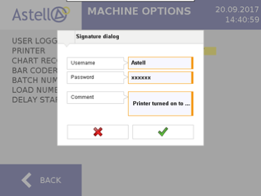 Astell Touchscreen Signature Dialog Confirmation for EDS